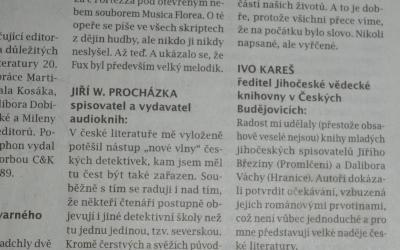 Účast v anktetě Literárních novin, číslo 12/2015